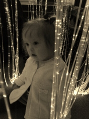 Hazel in sensory room black and white